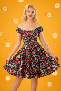 50s Strawberry Sundae Swing Dress in Black