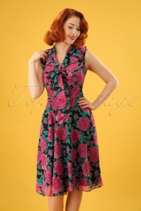 50s Eden Rose Dress in Black