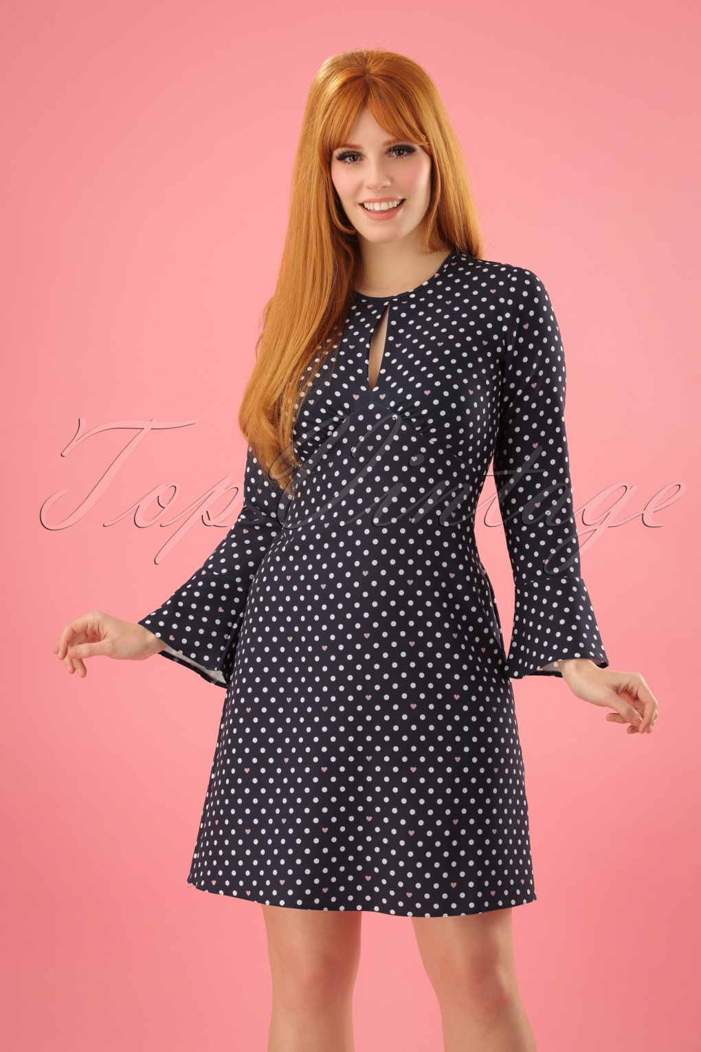 1960s Dresses: New 60s Style Dresses – Jackie O to Mod 60s Polly Polkadot Tunic Dress in Navy £83.23 AT vintagedancer.com