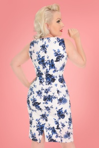 Hearts & Roses  Blue Roses Pencil Dress 24546 02