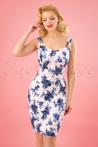 Hearts & Roses  Blue Roses Pencil Dress 24546 01W