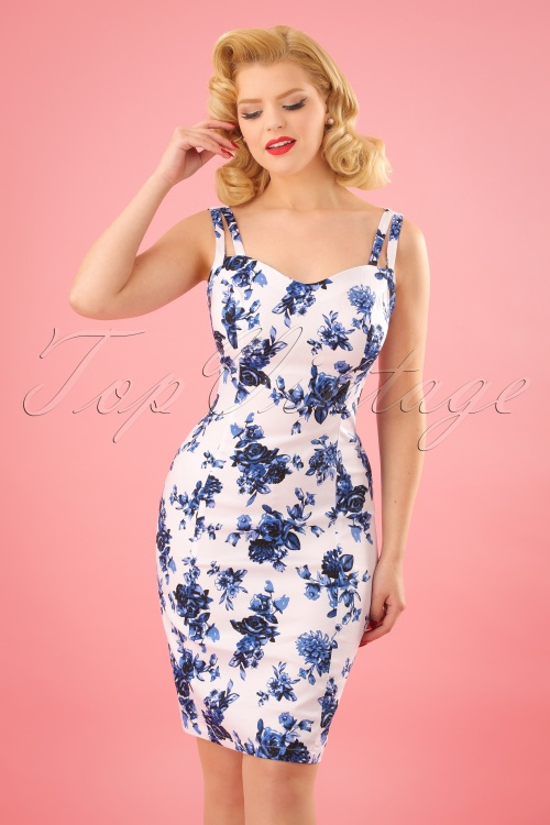 50s Rosaceae Floral Wiggle Dress in White and Blue