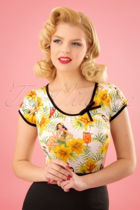 50s Leona Tiki Time Top in White