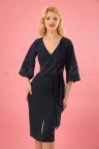 Closet London V Neck Flare Navy Dress 100 31 24455 20180109 0003W (2)