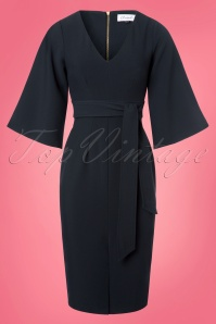 Closet London V Neck Flare Navy Dress 100 31 24455 20180109 0003w