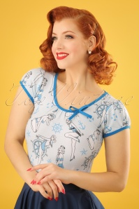 50s Leona Ahoi Sailor Top in Blue
