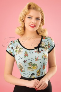 50s Leona Aloha Top in Blue