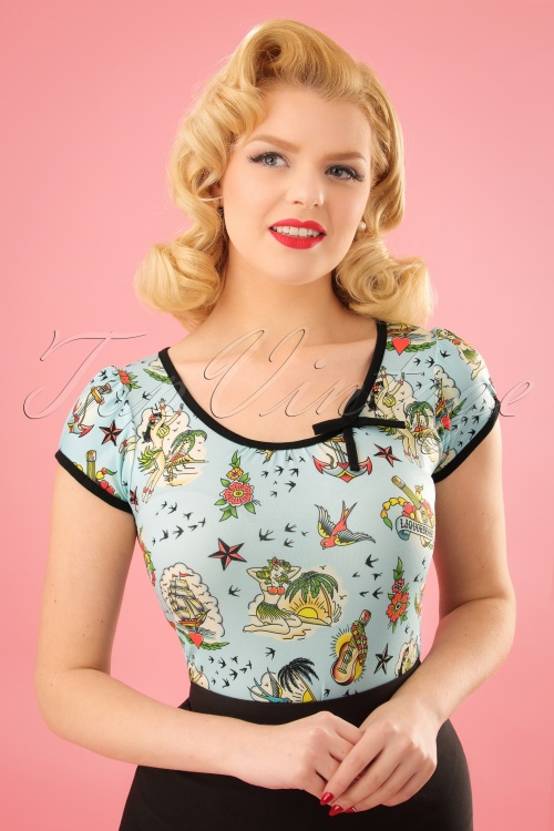 Sassy Sally 50s Leona Aloha T Shirt 24535 01W