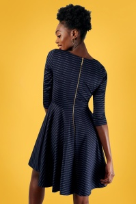 Closet London Striped Navy Skater Dress 02