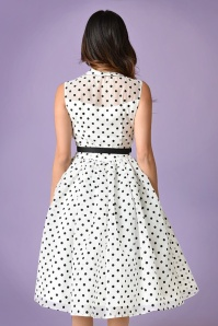 Unique Vintage White Swing Dress Polkadots 24909 03