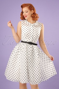 Unique Vintage White Swing Dress Polkadots 24909 01W