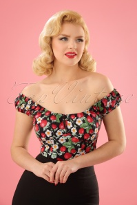 50s Strawberry Sundae Top in Black