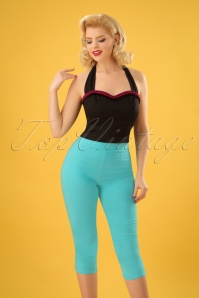 50s Tina Capri Pants in Aqua