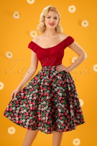 50s Strawberry Sundae Swing Skirt in Black