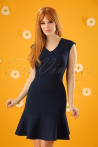 Closet London V Neck Peplum Dress in Navy 100 31 24456 20180108 0001W(2)
