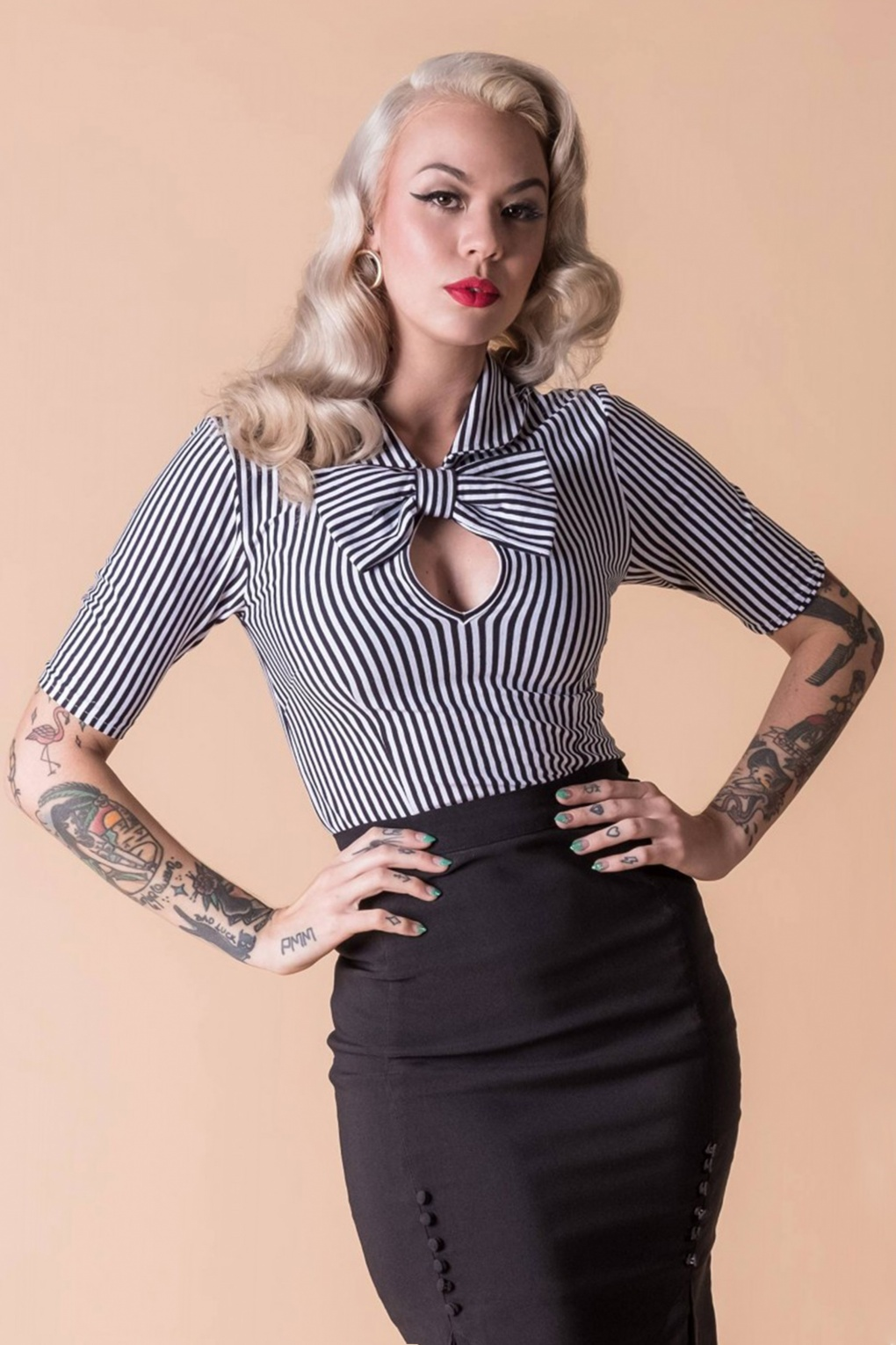 1950s Rockabilly & Pin Up Tops, Blouses, Shirts Limited Edition  50s All Aboard Blouse in Black and White £57.13 AT vintagedancer.com