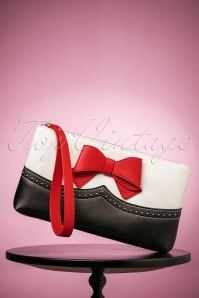 50s Bella Love Clutch in Black and White