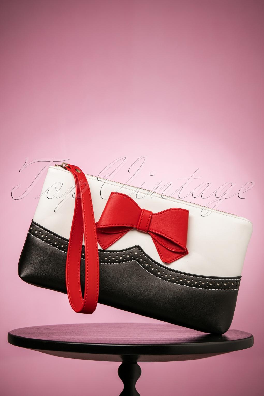Vintage & Retro Handbags, Purses, Wallets, Bags 50s Bella Love Clutch in Black and White £37.11 AT vintagedancer.com