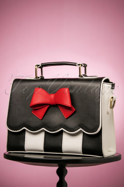 Vintage & Retro Handbags, Purses, Wallets, Bags 50s Stella Striped Bow Handbag in Black and White £58.71 AT vintagedancer.com