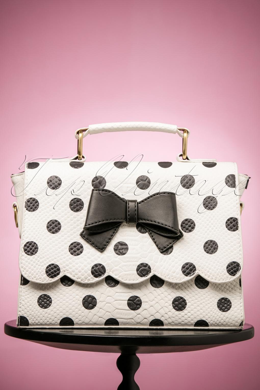 Vintage & Retro Handbags, Purses, Wallets, Bags 50s Stella Statement Polkadot Handbag in White £58.71 AT vintagedancer.com