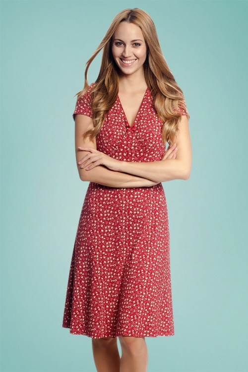 purchase cheap 26046 eb5ff 60s My Holiday Flower Dress in Red