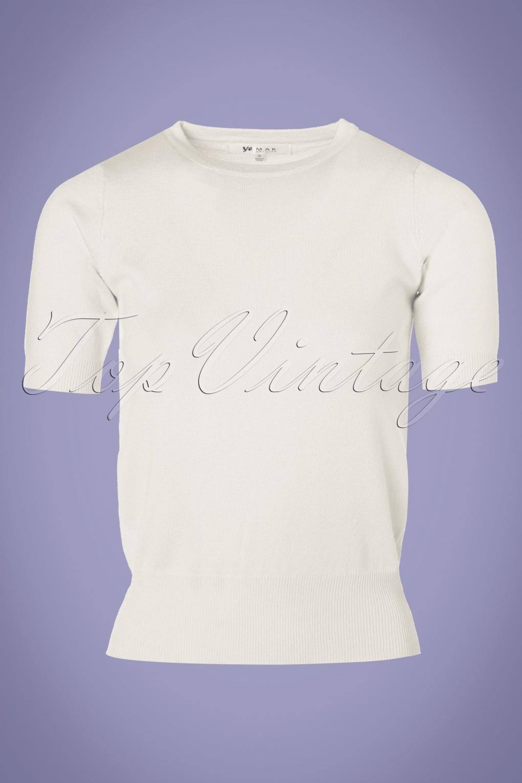 Vintage & Retro Shirts, Halter Tops, Blouses 50s Debbie Short Sleeve Sweater in Ivory £26.43 AT vintagedancer.com
