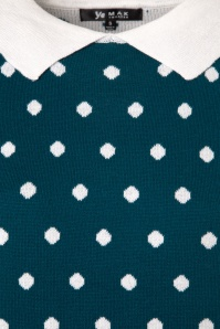 Mak Sweater Teal and Ivory Polkadot Shirt 113 39 24930 20180222 0004