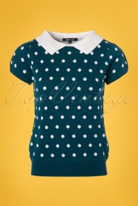 Mak Sweater Teal and Ivory Polkadot Shirt 113 39 24930 20180222 0002w