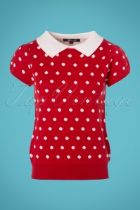Mak Sweater 60s Kristen Polkadot Sweater in Red and Ivory