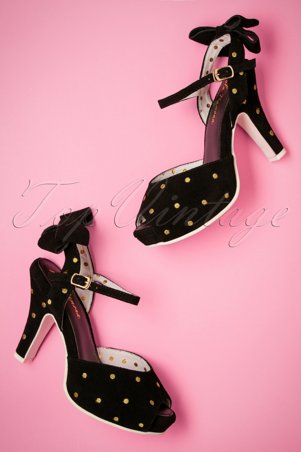 Vintage Style Shoes, Vintage Inspired Shoes 50s Angie Night Fever Peeptoe Pumps in Black and Gold £132.34 AT vintagedancer.com