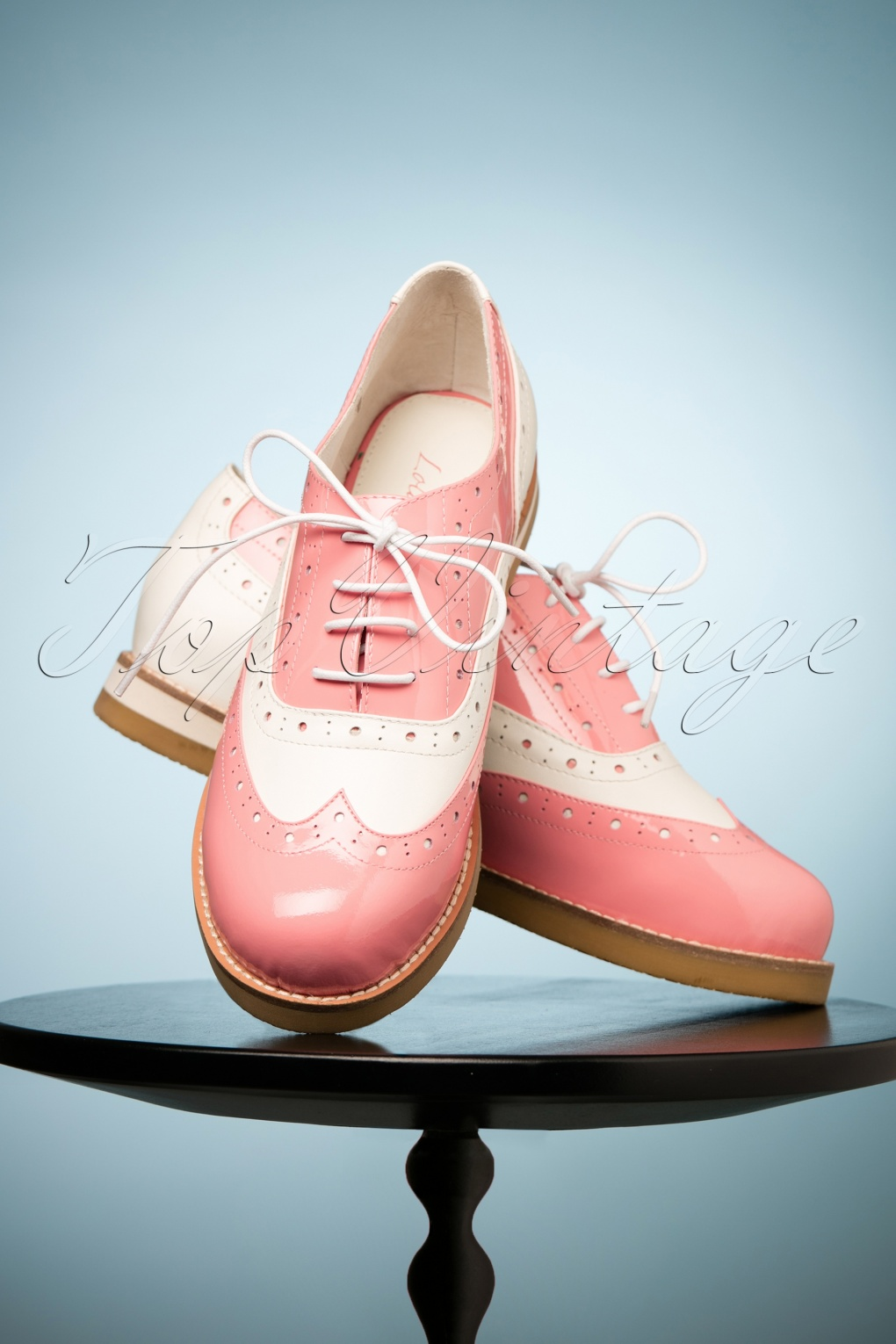 Vintage Style Shoes, Vintage Inspired Shoes 50s Cecilia Candy Patent Brogues in Pink and Cream £123.51 AT vintagedancer.com