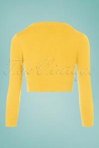 Mak Sweater V neck Cropped Cardigan in yellow 140 20 24964 20171002 0006W