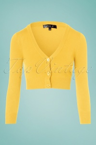 50s Shela Cropped Cardigan in Custard Yellow