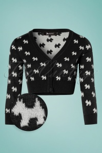 Mak Sweater Black and Ivory Doggies Cardigan 140 14 24948 20180222 0002WV