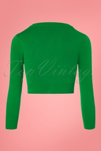Mak Sweater V neck Cropped Cardigan in Kelly Green 140 40 23271 20171002 0003W