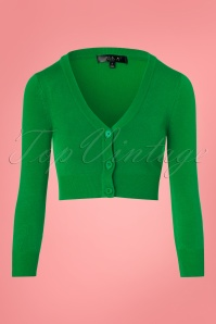 Mak Sweater V neck Cropped Cardigan in Green 140 40 24956 20171002 0002W