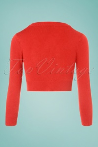 Mak Sweater V neck Cropped Cardigan in Orange 24965 20171002 0006W
