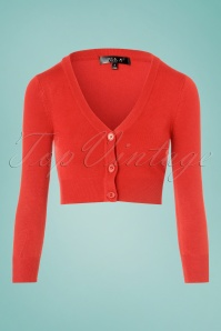 Shela Cropped Cardigan Années 50 en Orange