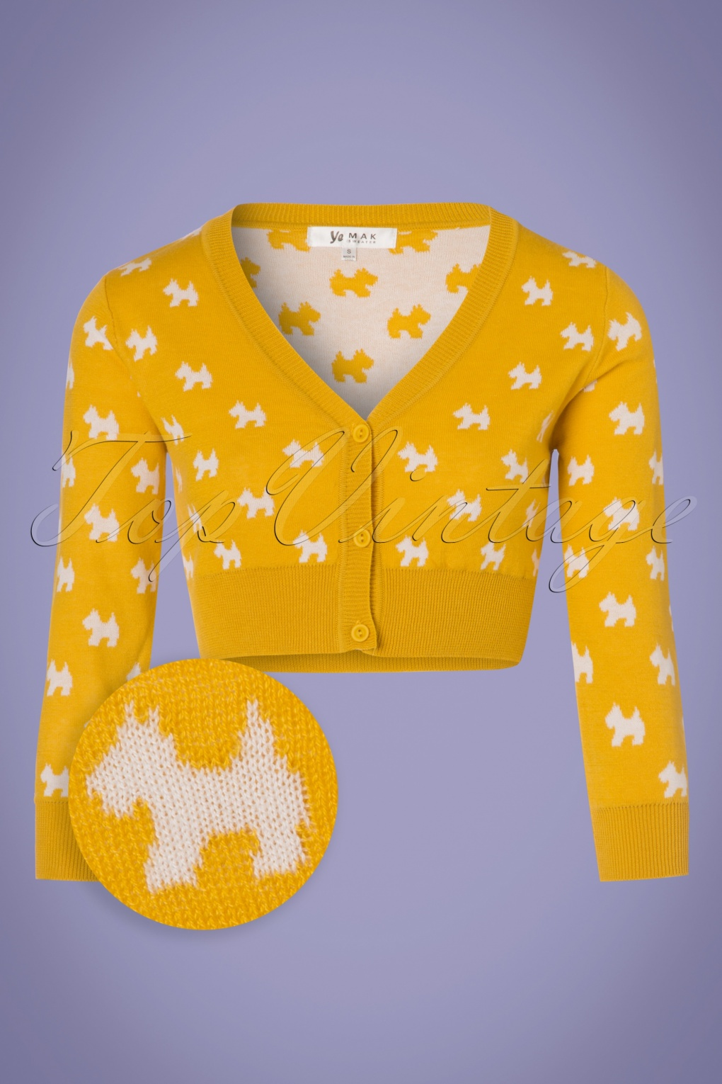 Vintage Sweaters: Cable Knit, Fair Isle Cardigans & Sweaters 60s Doggy Cardigan in Honey Yellow £30.20 AT vintagedancer.com