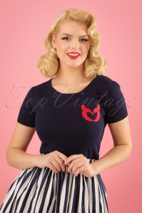 50s Libby Lobster Love Knitted Top in Navy