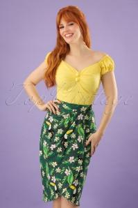 50s Kala Tropical Bird Sarong Skirt in Green