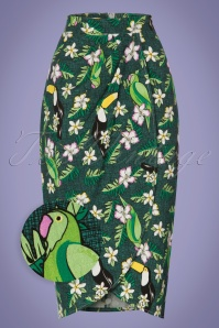 Collectif Clothing Kala Tropical Bird Sarong Skirt in Green 22801 20171120 0004wv