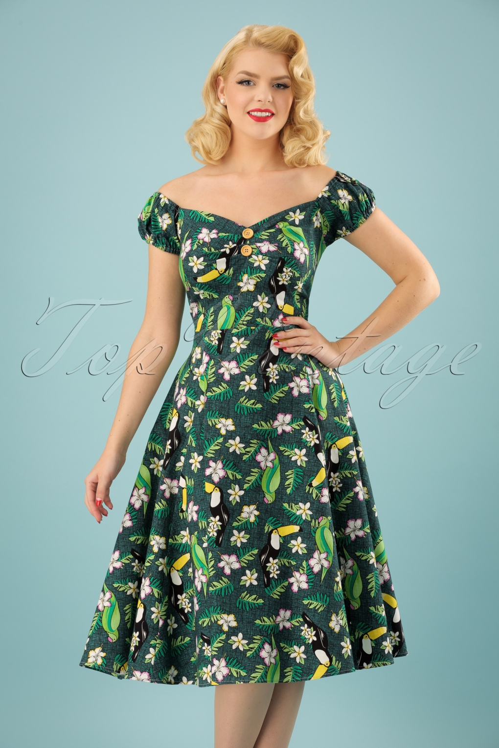 50s Dolores Tropical Bird Doll Dress In Green