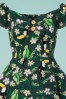 Collectif Clothing Dolores Tropical Bird Doll Dress in Green 22780 20171120 0001V