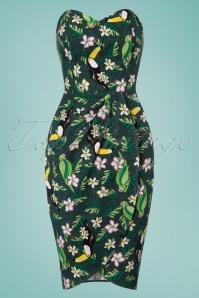 Collectif Clothing Mahina Tropical Bird Sarong Dress in Green 22837 20171120 0015W