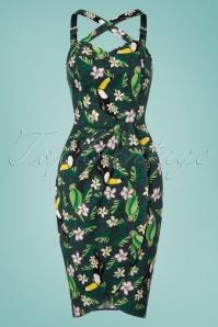 50s Mahina Tropical Bird Sarong Dress in Green