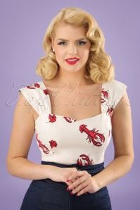 Collectif Clothing Jill Rock Lobster Top in White and Red 22821 20171122 0002w