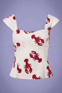 50s Jill Rock Lobster Top in White and Red