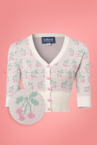 Collectif Clothing Evie Cherry Cardigan in Ivory 22542 20171122 0003WV