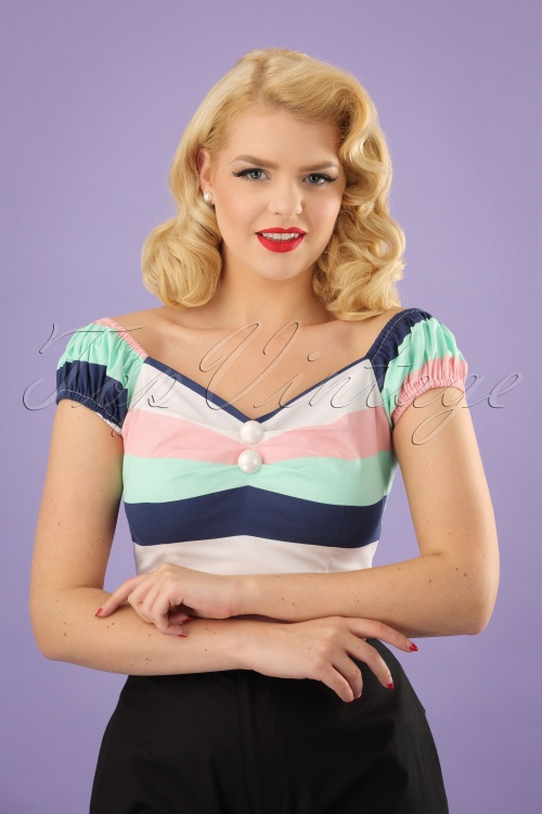 Collectif Clothing Dolores Candy Stripes Top 23635 20171122 01W